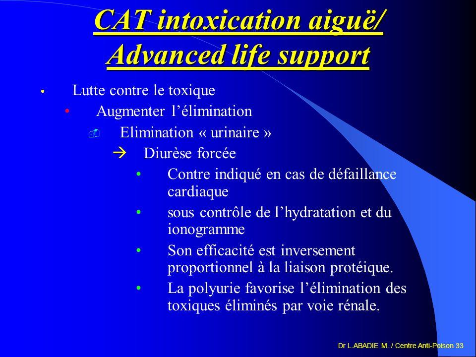 Dr L.ABADIE M. / Centre Anti-Poison 33 CAT intoxication aiguë/ Advanced life support Lutte contre le toxique Augmenter lélimination Elimination « urin