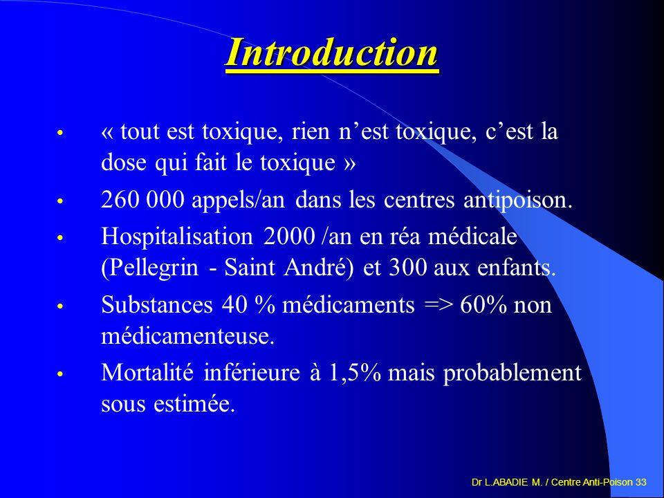 Dr L.ABADIE M. / Centre Anti-Poison 33 Introduction « tout est toxique, rien nest toxique, cest la dose qui fait le toxique » 260 000 appels/an dans l