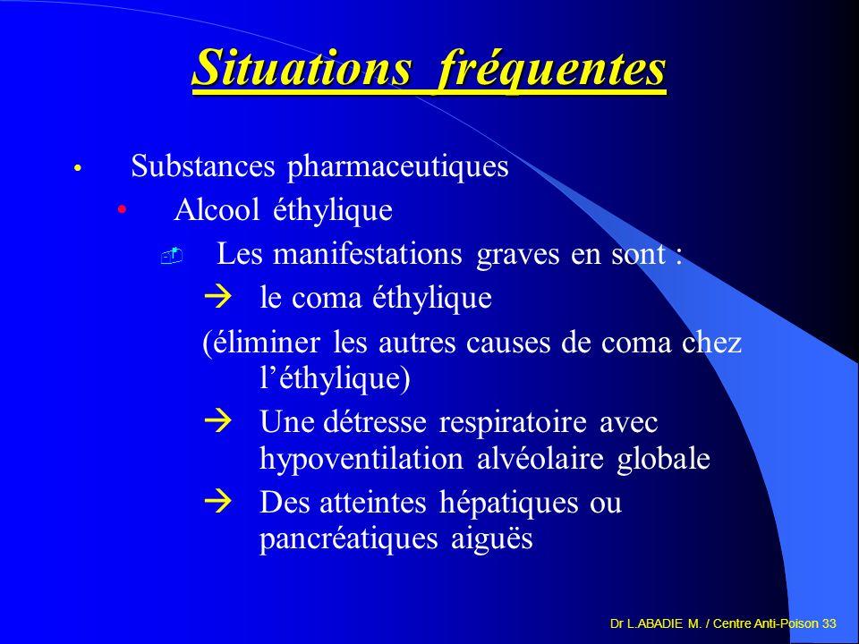 Dr L.ABADIE M. / Centre Anti-Poison 33 Situations fréquentes Substances pharmaceutiques Alcool éthylique Les manifestations graves en sont : le coma é
