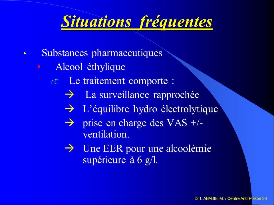 Dr L.ABADIE M. / Centre Anti-Poison 33 Situations fréquentes Substances pharmaceutiques Alcool éthylique Le traitement comporte : La surveillance rapp