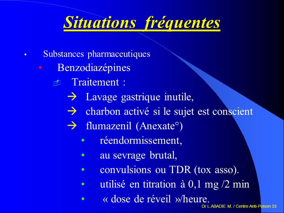 Dr L.ABADIE M. / Centre Anti-Poison 33 Situations fréquentes Substances pharmaceutiques Benzodiazépines Traitement : Lavage gastrique inutile, charbon