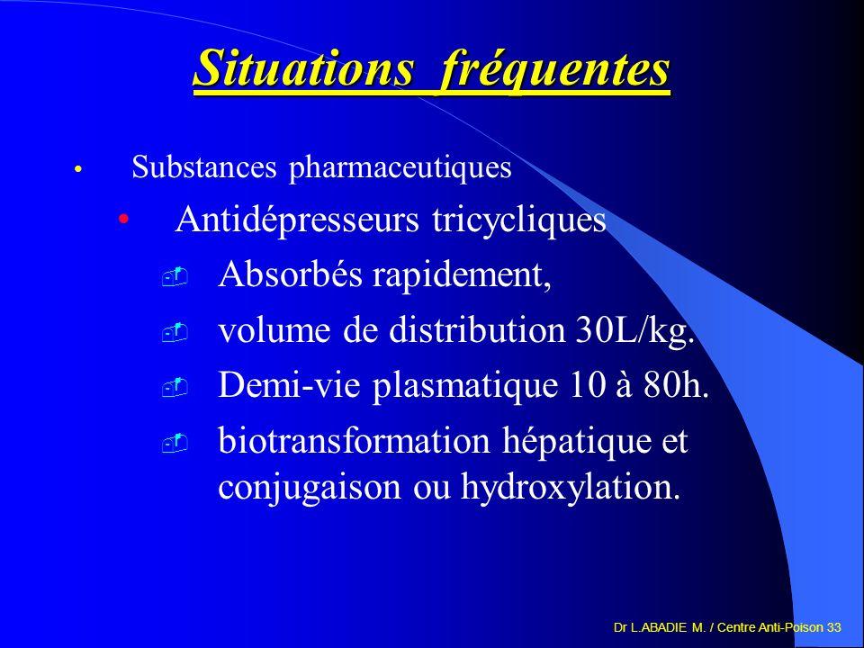 Dr L.ABADIE M. / Centre Anti-Poison 33 Situations fréquentes Substances pharmaceutiques Antidépresseurs tricycliques Absorbés rapidement, volume de di