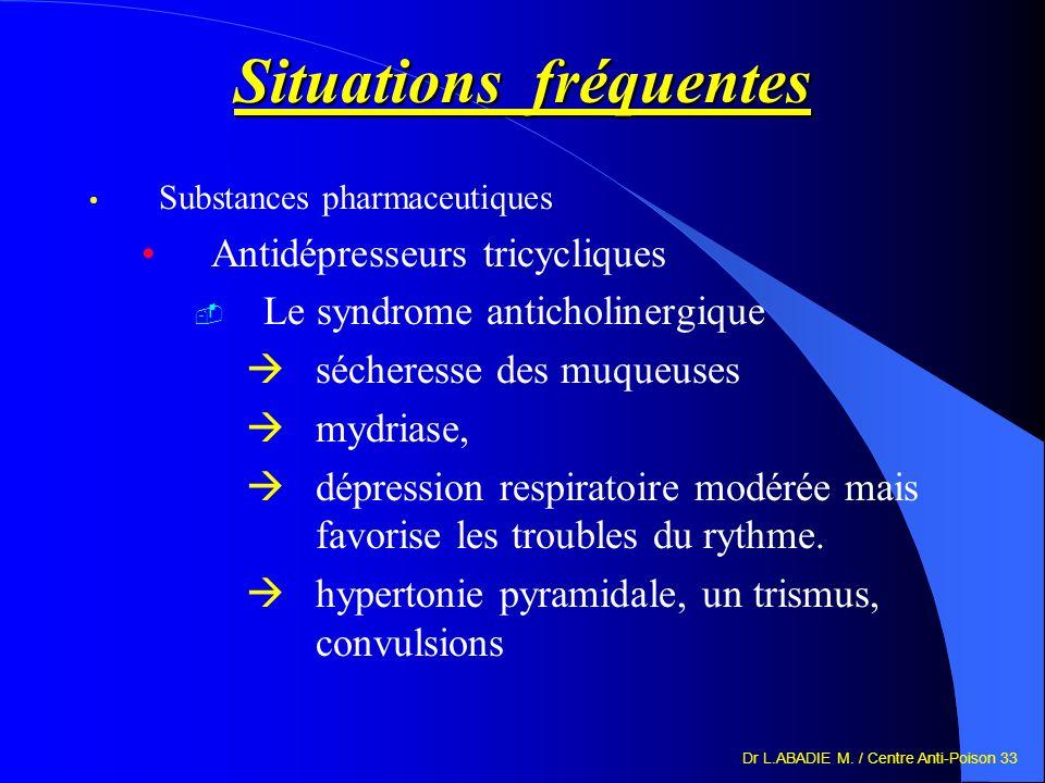 Dr L.ABADIE M. / Centre Anti-Poison 33 Situations fréquentes Substances pharmaceutiques Antidépresseurs tricycliques Le syndrome anticholinergique séc