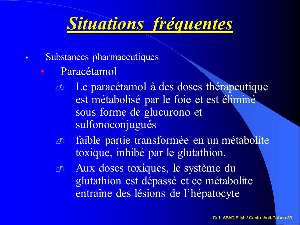 Dr L.ABADIE M. / Centre Anti-Poison 33 Situations fréquentes Substances pharmaceutiques Paracétamol Le paracétamol à des doses thérapeutique est métab