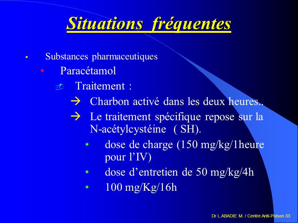 Dr L.ABADIE M. / Centre Anti-Poison 33 Situations fréquentes Substances pharmaceutiques Paracétamol Traitement : Charbon activé dans les deux heures..