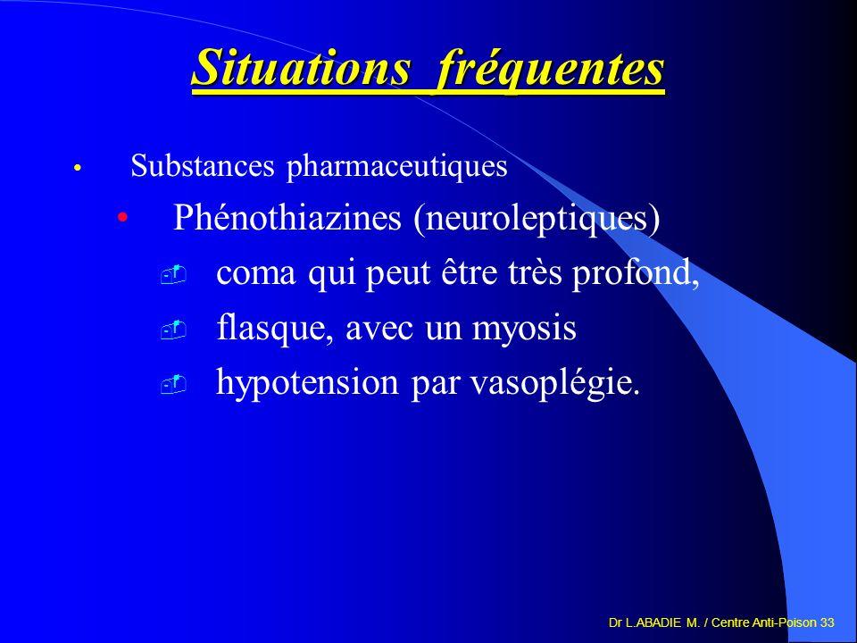 Dr L.ABADIE M. / Centre Anti-Poison 33 Situations fréquentes Substances pharmaceutiques Phénothiazines (neuroleptiques) coma qui peut être très profon