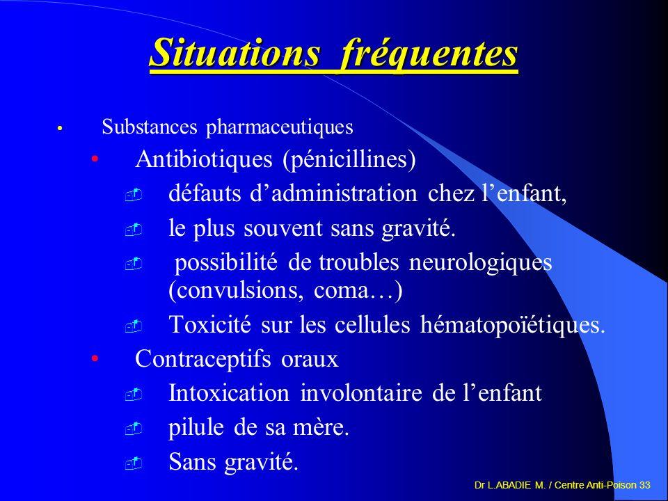 Dr L.ABADIE M. / Centre Anti-Poison 33 Situations fréquentes Substances pharmaceutiques Antibiotiques (pénicillines) défauts dadministration chez lenf