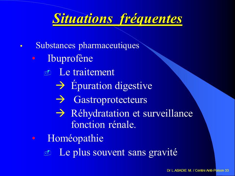 Dr L.ABADIE M. / Centre Anti-Poison 33 Situations fréquentes Substances pharmaceutiques Ibuprofène Le traitement Épuration digestive Gastroprotecteurs