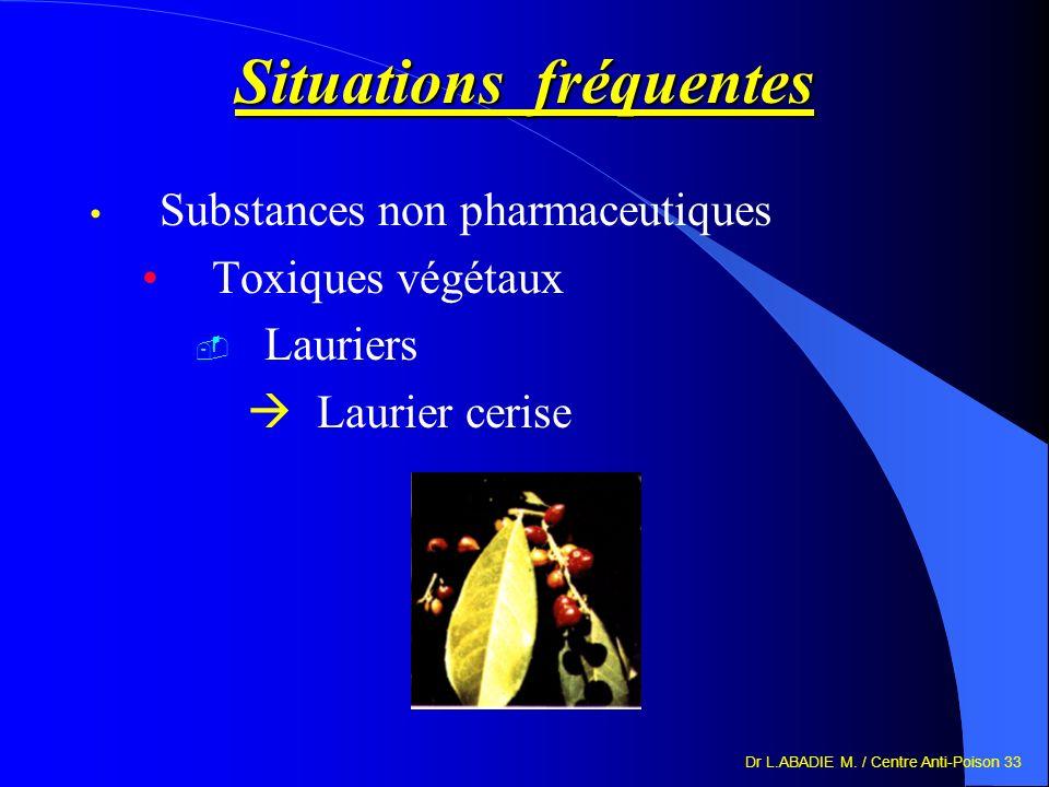 Dr L.ABADIE M. / Centre Anti-Poison 33 Situations fréquentes Substances non pharmaceutiques Toxiques végétaux Lauriers Laurier cerise