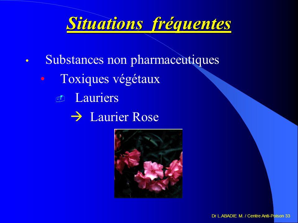 Dr L.ABADIE M. / Centre Anti-Poison 33 Situations fréquentes Substances non pharmaceutiques Toxiques végétaux Lauriers Laurier Rose