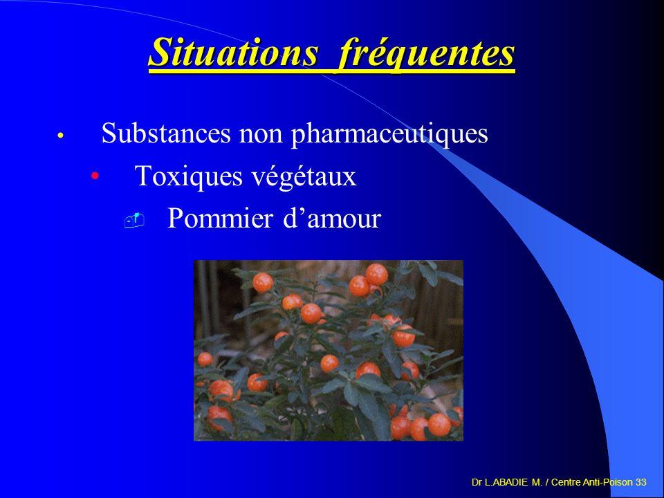 Dr L.ABADIE M. / Centre Anti-Poison 33 Situations fréquentes Substances non pharmaceutiques Toxiques végétaux Pommier damour