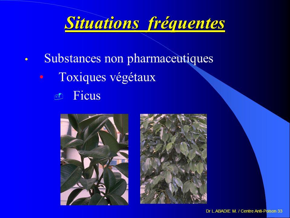 Dr L.ABADIE M. / Centre Anti-Poison 33 Situations fréquentes Substances non pharmaceutiques Toxiques végétaux Ficus