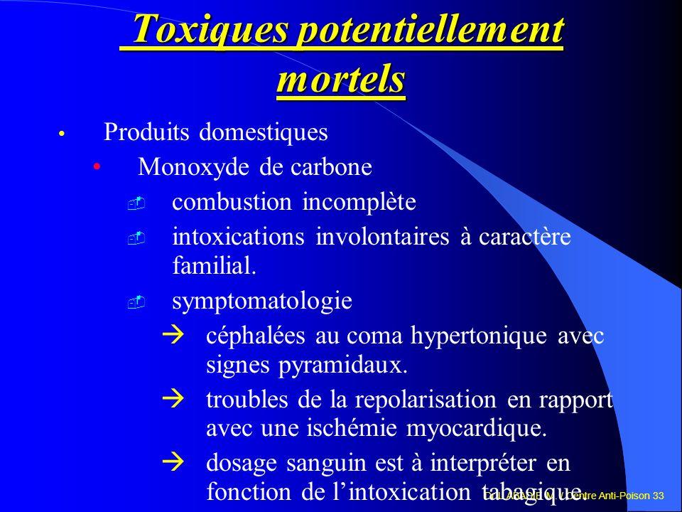 Dr L.ABADIE M. / Centre Anti-Poison 33 Toxiques potentiellement mortels Toxiques potentiellement mortels Produits domestiques Monoxyde de carbone comb