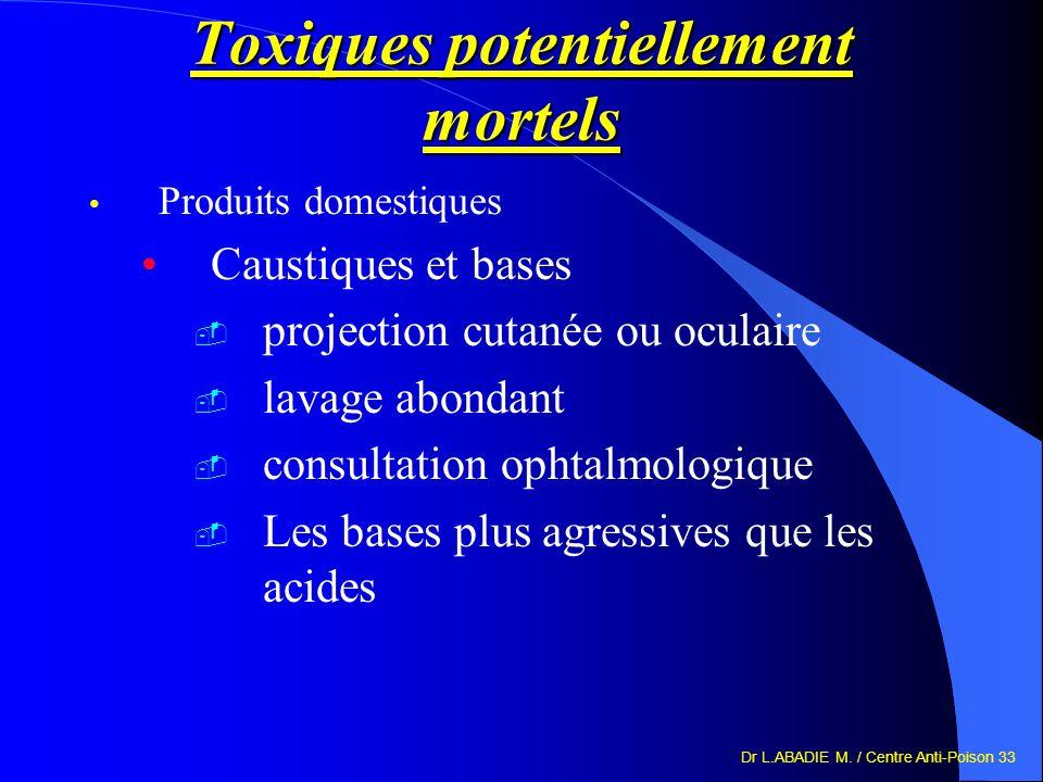 Dr L.ABADIE M. / Centre Anti-Poison 33 Toxiques potentiellement mortels Produits domestiques Caustiques et bases projection cutanée ou oculaire lavage