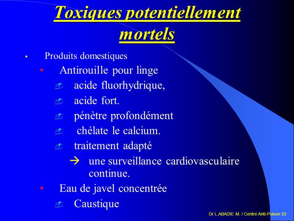 Dr L.ABADIE M. / Centre Anti-Poison 33 Toxiques potentiellement mortels Produits domestiques Antirouille pour linge acide fluorhydrique, acide fort. p