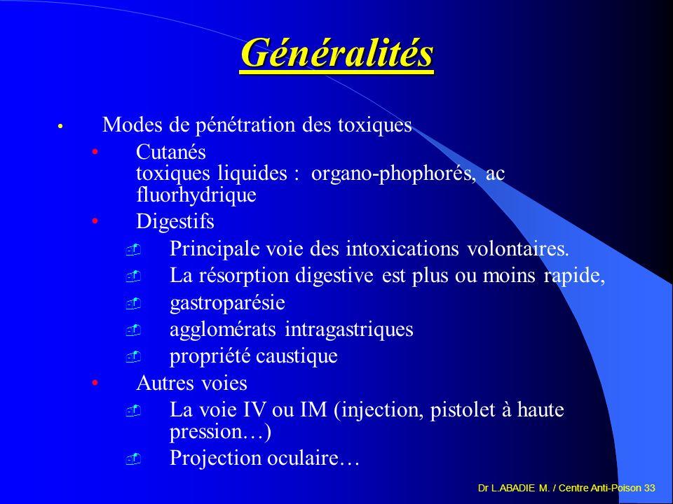 Dr L.ABADIE M. / Centre Anti-Poison 33 Généralités Modes de pénétration des toxiques Cutanés toxiques liquides : organo-phophorés, ac fluorhydrique Di