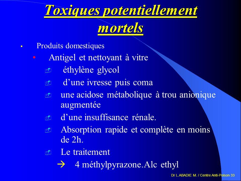 Dr L.ABADIE M. / Centre Anti-Poison 33 Toxiques potentiellement mortels Produits domestiques Antigel et nettoyant à vitre éthylène glycol dune ivresse