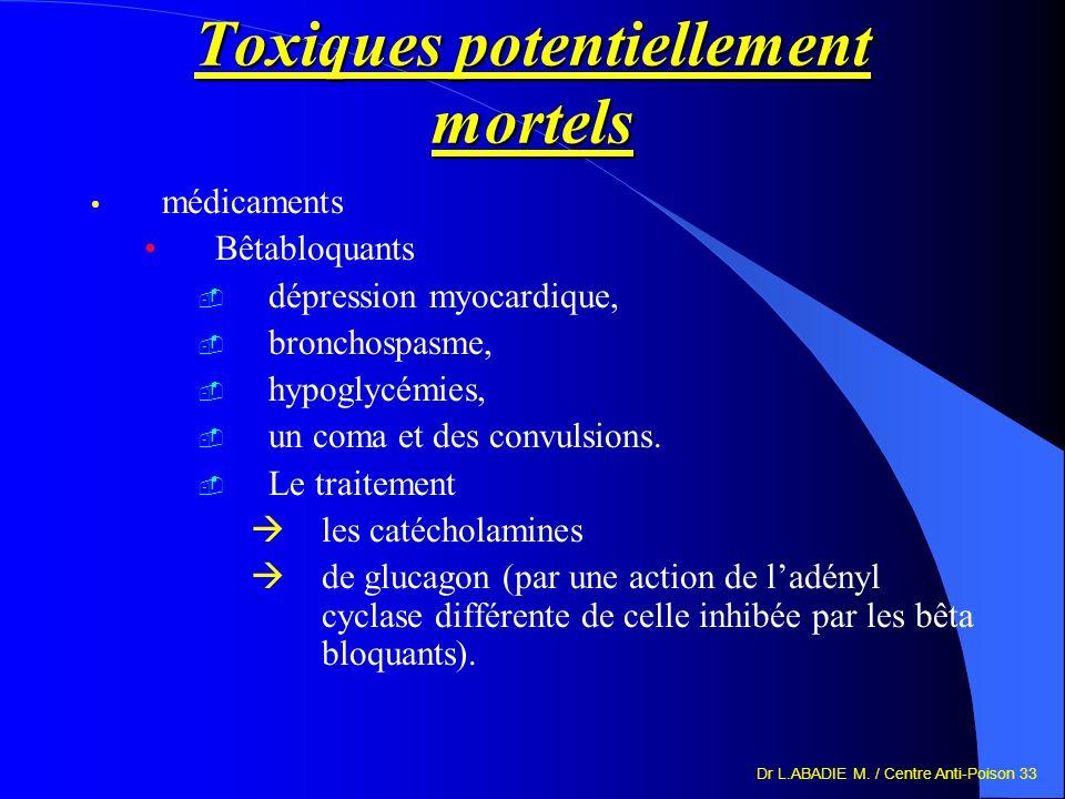 Dr L.ABADIE M. / Centre Anti-Poison 33 Toxiques potentiellement mortels médicaments Bêtabloquants dépression myocardique, bronchospasme, hypoglycémies