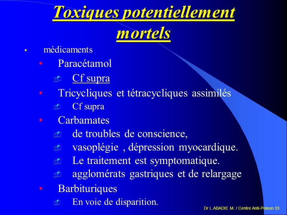Dr L.ABADIE M. / Centre Anti-Poison 33 Toxiques potentiellement mortels médicaments Paracétamol Cf supra Tricycliques et tétracycliques assimilés Cf s