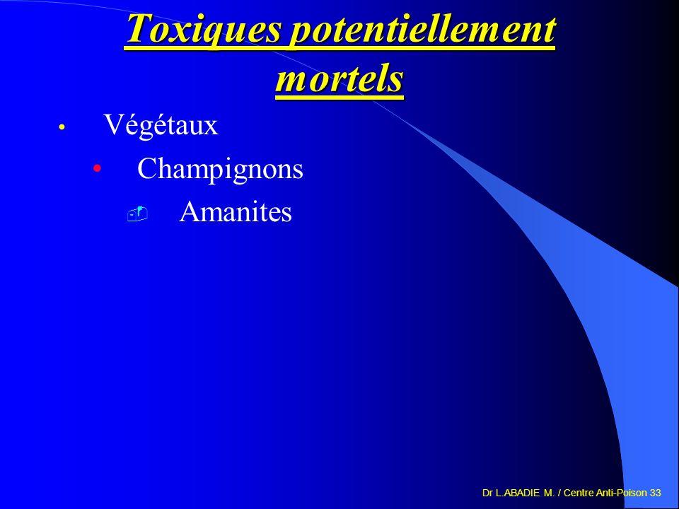 Dr L.ABADIE M. / Centre Anti-Poison 33 Toxiques potentiellement mortels Végétaux Champignons Amanites