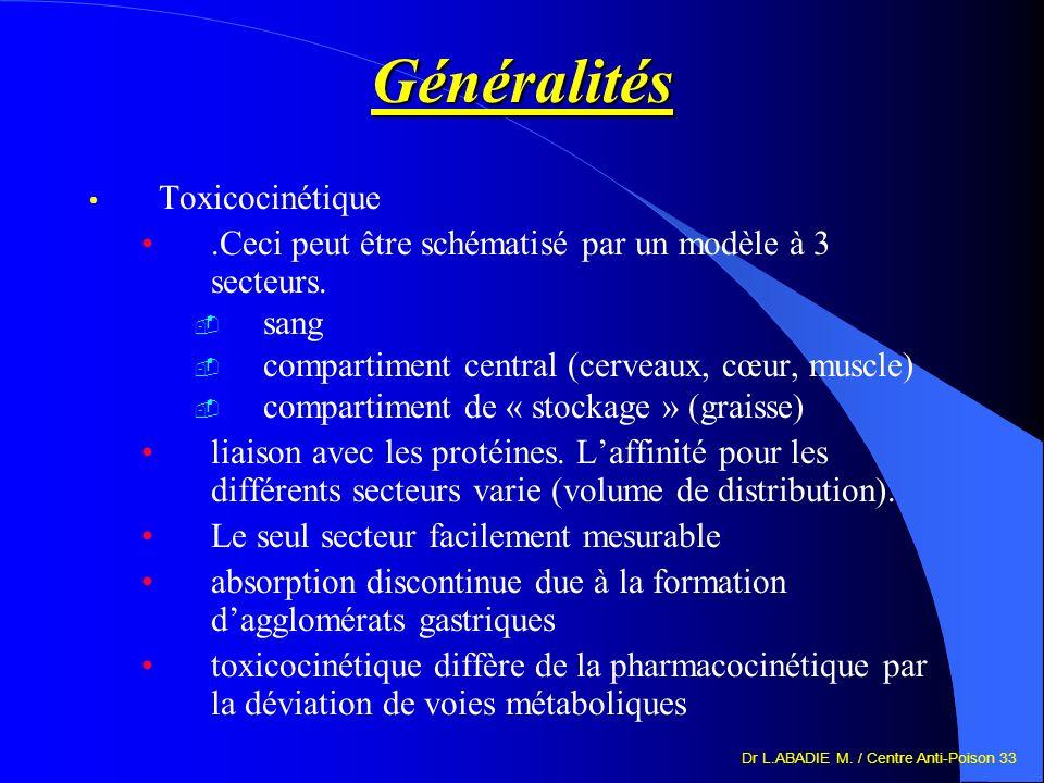 Dr L.ABADIE M. / Centre Anti-Poison 33 Généralités Toxicocinétique.Ceci peut être schématisé par un modèle à 3 secteurs. sang compartiment central (ce