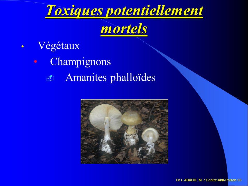 Dr L.ABADIE M. / Centre Anti-Poison 33 Toxiques potentiellement mortels Végétaux Champignons Amanites phalloïdes