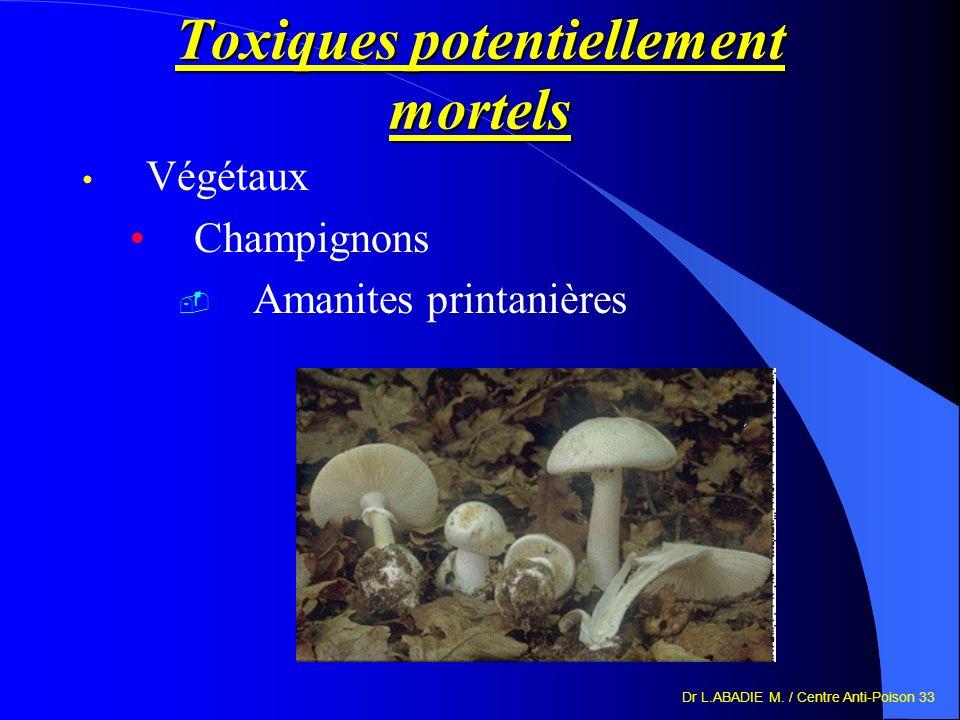 Dr L.ABADIE M. / Centre Anti-Poison 33 Toxiques potentiellement mortels Végétaux Champignons Amanites printanières