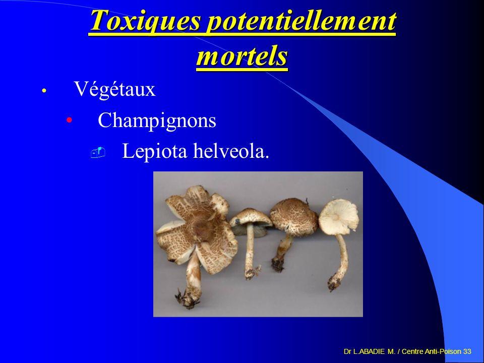 Dr L.ABADIE M. / Centre Anti-Poison 33 Toxiques potentiellement mortels Végétaux Champignons Lepiota helveola.