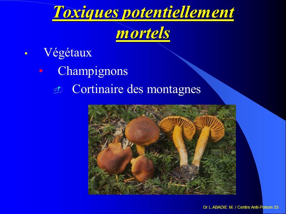Dr L.ABADIE M. / Centre Anti-Poison 33 Toxiques potentiellement mortels Végétaux Champignons Cortinaire des montagnes