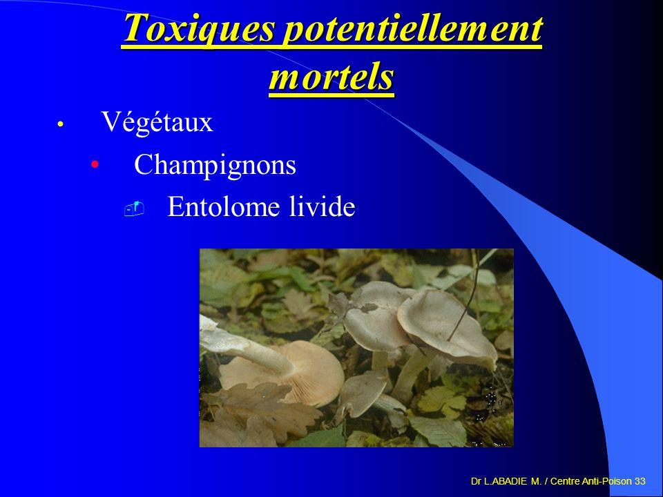 Dr L.ABADIE M. / Centre Anti-Poison 33 Toxiques potentiellement mortels Végétaux Champignons Entolome livide