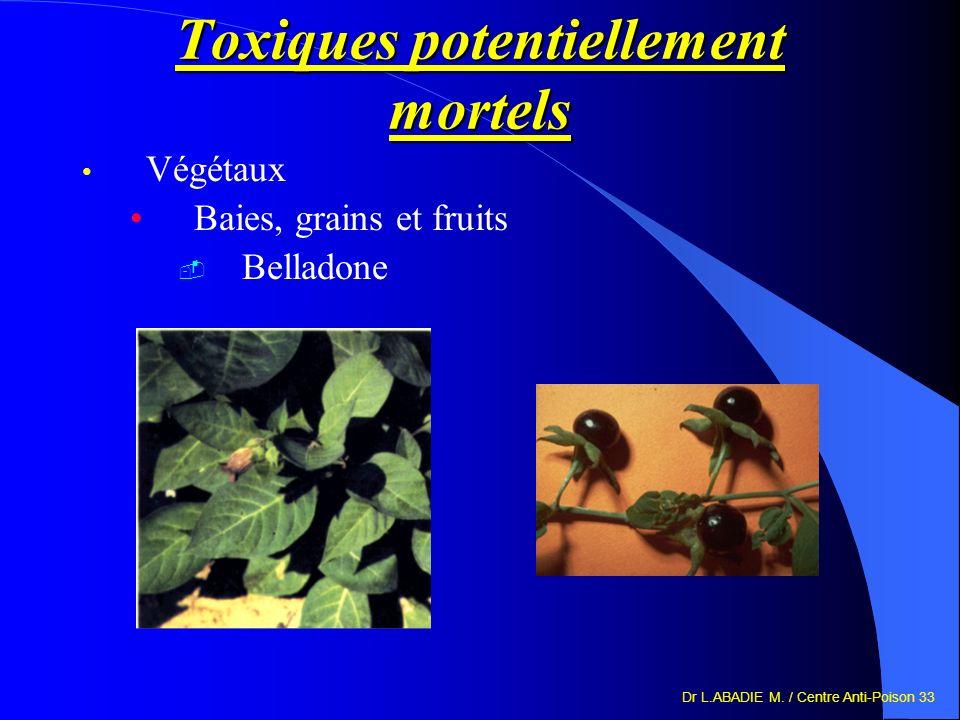 Dr L.ABADIE M. / Centre Anti-Poison 33 Toxiques potentiellement mortels Végétaux Baies, grains et fruits Belladone