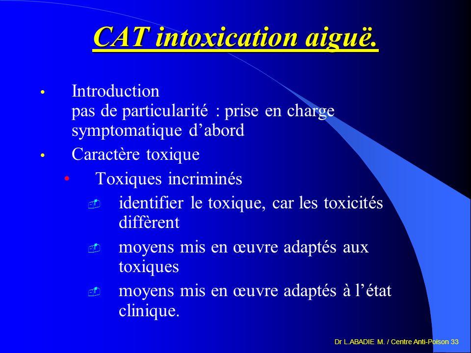 Dr L.ABADIE M. / Centre Anti-Poison 33 CAT intoxication aiguë. Introduction pas de particularité : prise en charge symptomatique dabord Caractère toxi
