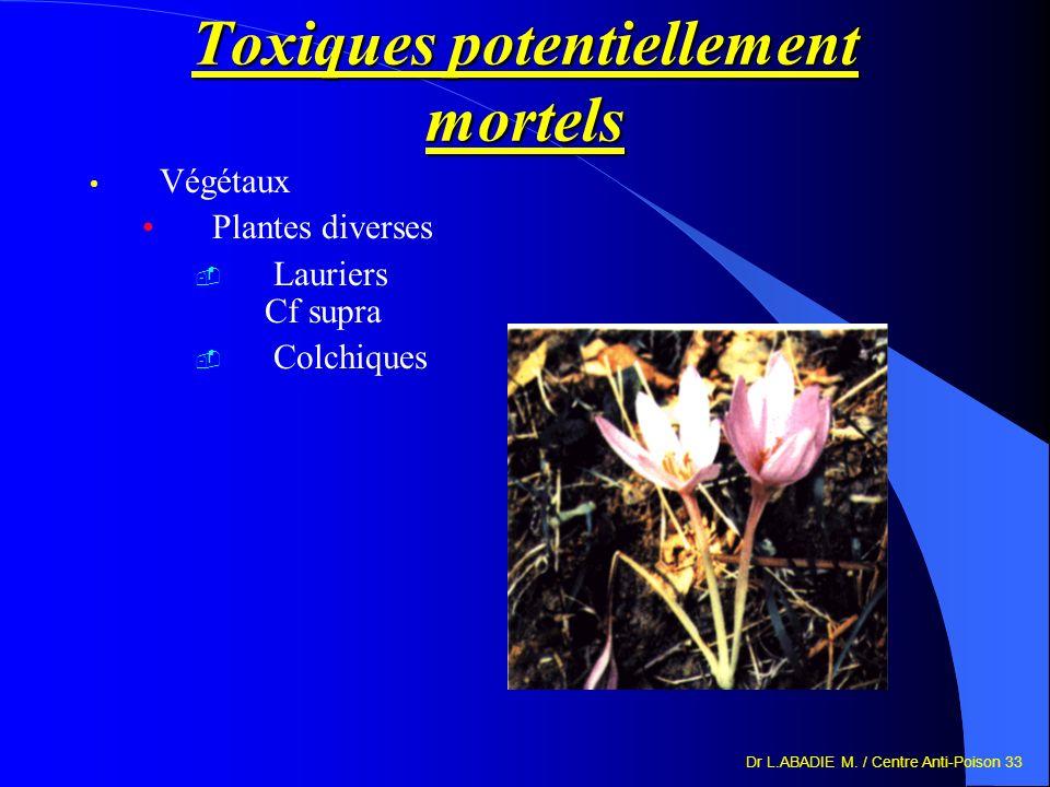 Dr L.ABADIE M. / Centre Anti-Poison 33 Toxiques potentiellement mortels Végétaux Plantes diverses Lauriers Cf supra Colchiques
