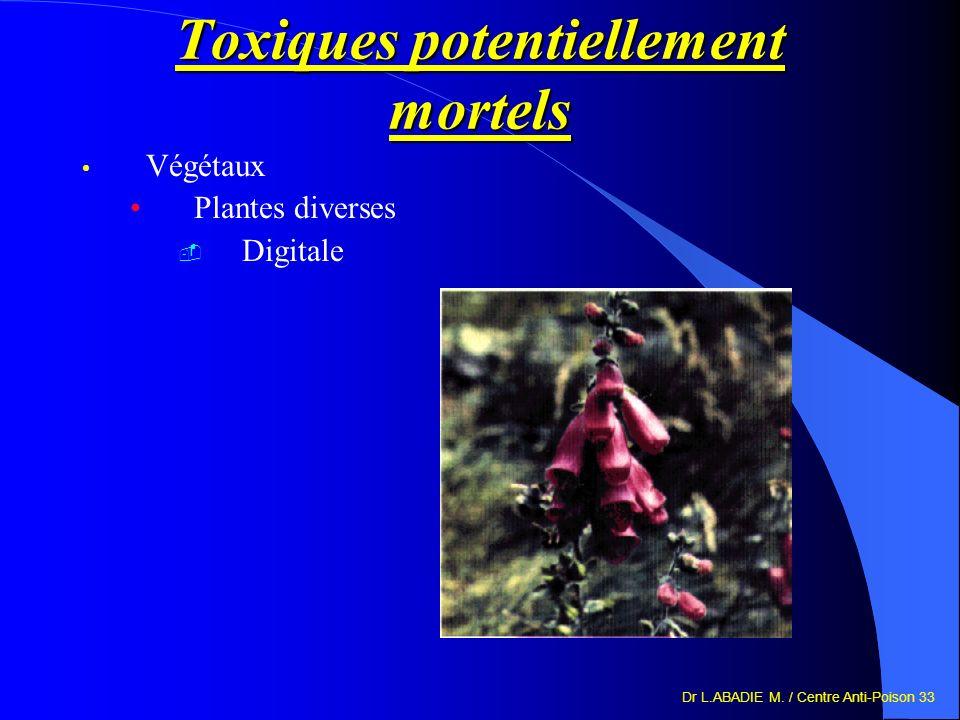 Dr L.ABADIE M. / Centre Anti-Poison 33 Toxiques potentiellement mortels Végétaux Plantes diverses Digitale