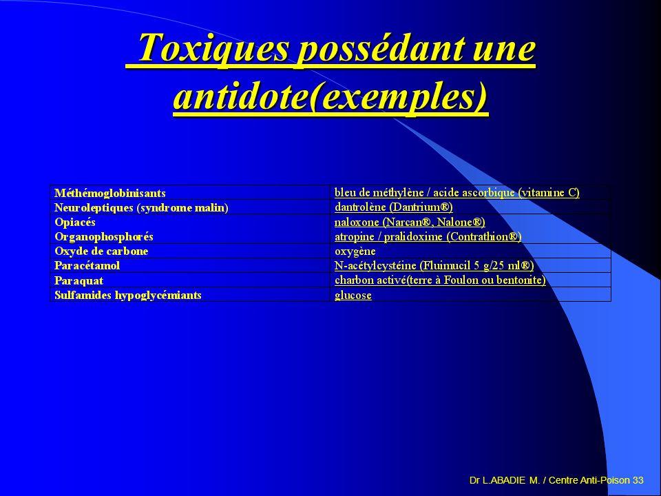 Dr L.ABADIE M. / Centre Anti-Poison 33 Toxiques possédant une antidote(exemples) Toxiques possédant une antidote(exemples)