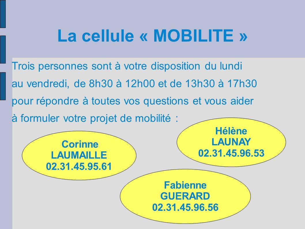 La cellule « MOBILITE » Corinne LAUMAILLE 02.31.45.95.61 Hélène LAUNAY 02.31.45.96.53 Fabienne GUERARD 02.31.45.96.56 Trois personnes sont à votre dis