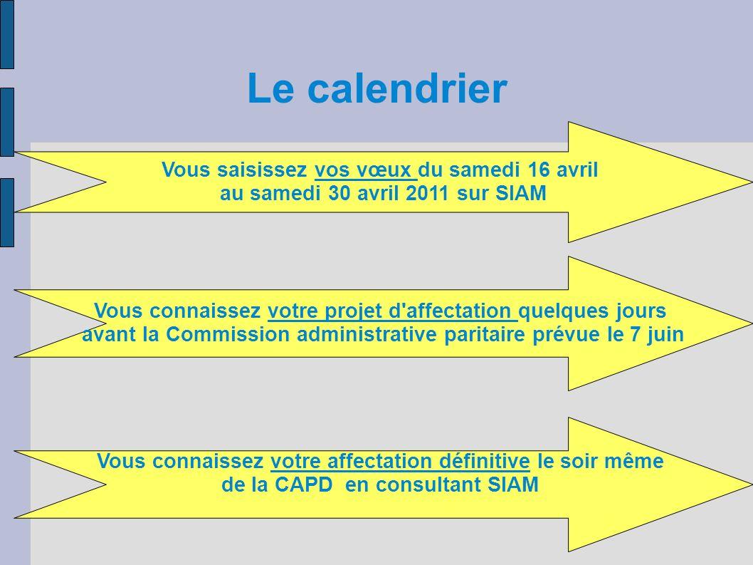 Le calendrier Vous saisissez vos vœux du samedi 16 avril au samedi 30 avril 2011 sur SIAM Vous connaissez votre projet d'affectation quelques jours av