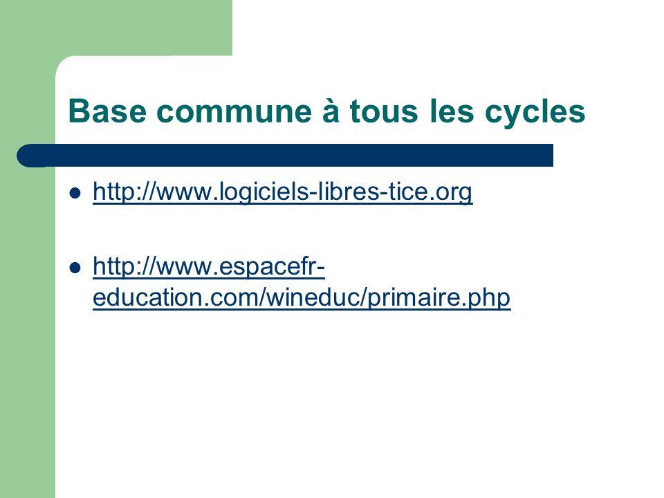 Base commune à tous les cycles http://www.logiciels-libres-tice.org http://www.espacefr- education.com/wineduc/primaire.php http://www.espacefr- educa