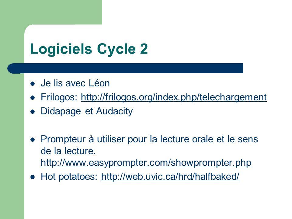 Logiciels Cycle 2 Je lis avec Léon Frilogos: http://frilogos.org/index.php/telechargementhttp://frilogos.org/index.php/telechargement Didapage et Auda