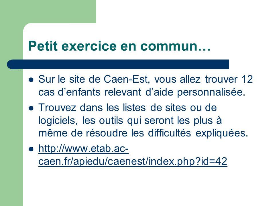 Petit exercice en commun… Sur le site de Caen-Est, vous allez trouver 12 cas denfants relevant daide personnalisée. Trouvez dans les listes de sites o