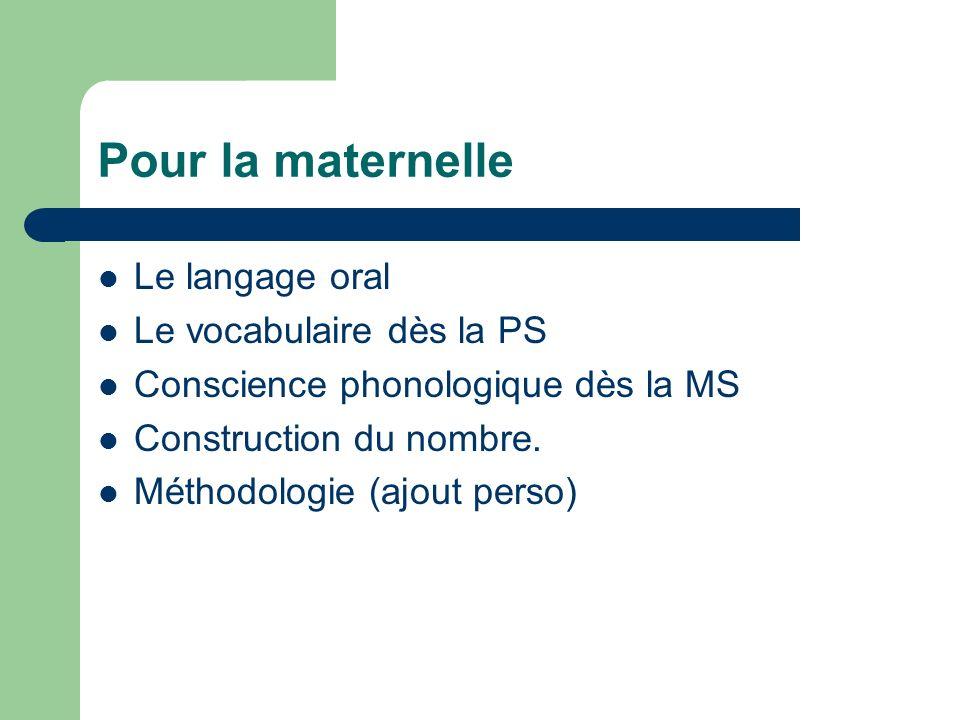 Pour la maternelle Le langage oral Le vocabulaire dès la PS Conscience phonologique dès la MS Construction du nombre. Méthodologie (ajout perso)