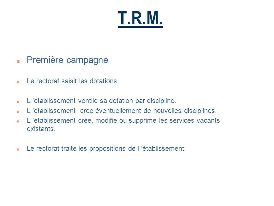 T.R.M.n Première campagne n Le rectorat saisit les dotations.