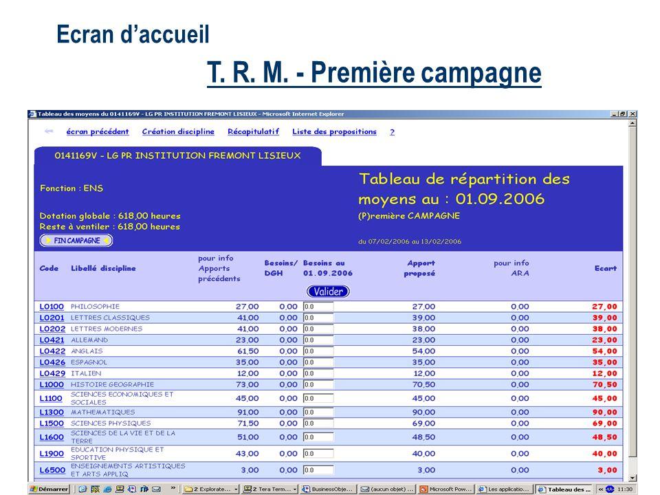 Ecran daccueil T.R. M.