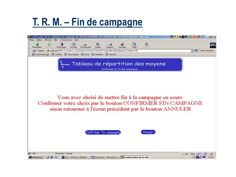 T. R. M. – Fin de campagne