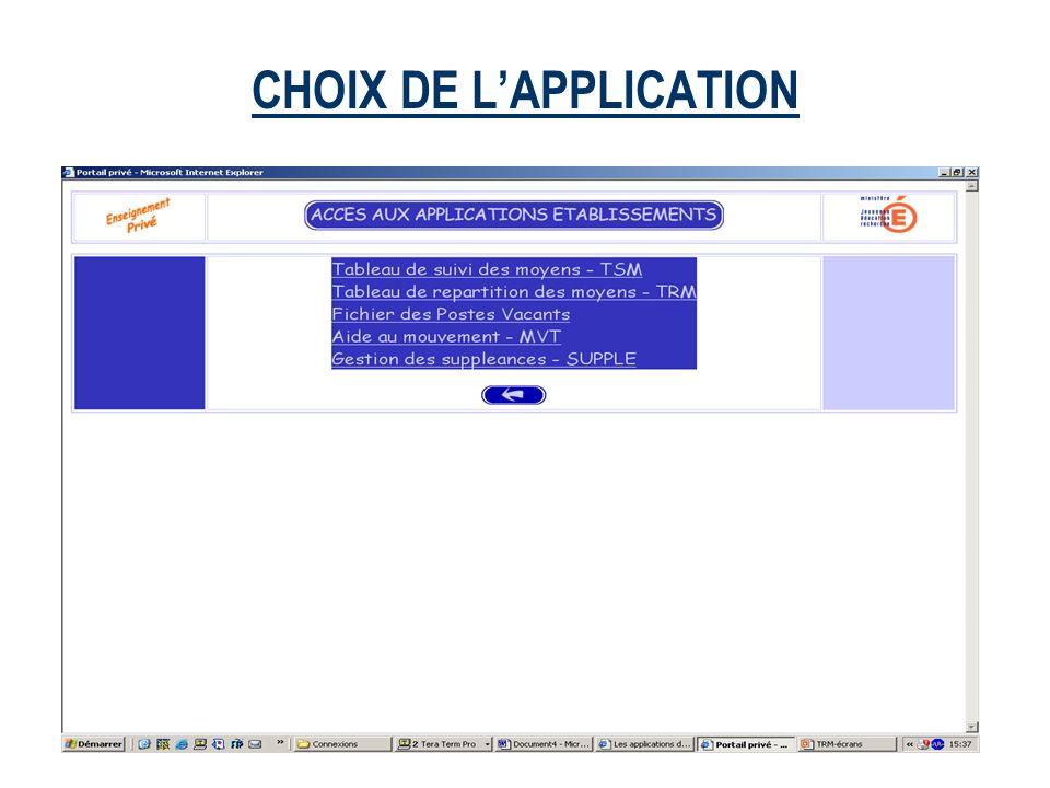 CHOIX DE LAPPLICATION