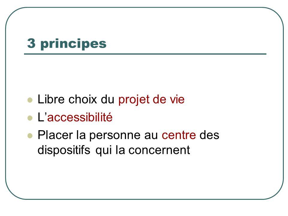 3 principes Libre choix du projet de vie Laccessibilité Placer la personne au centre des dispositifs qui la concernent