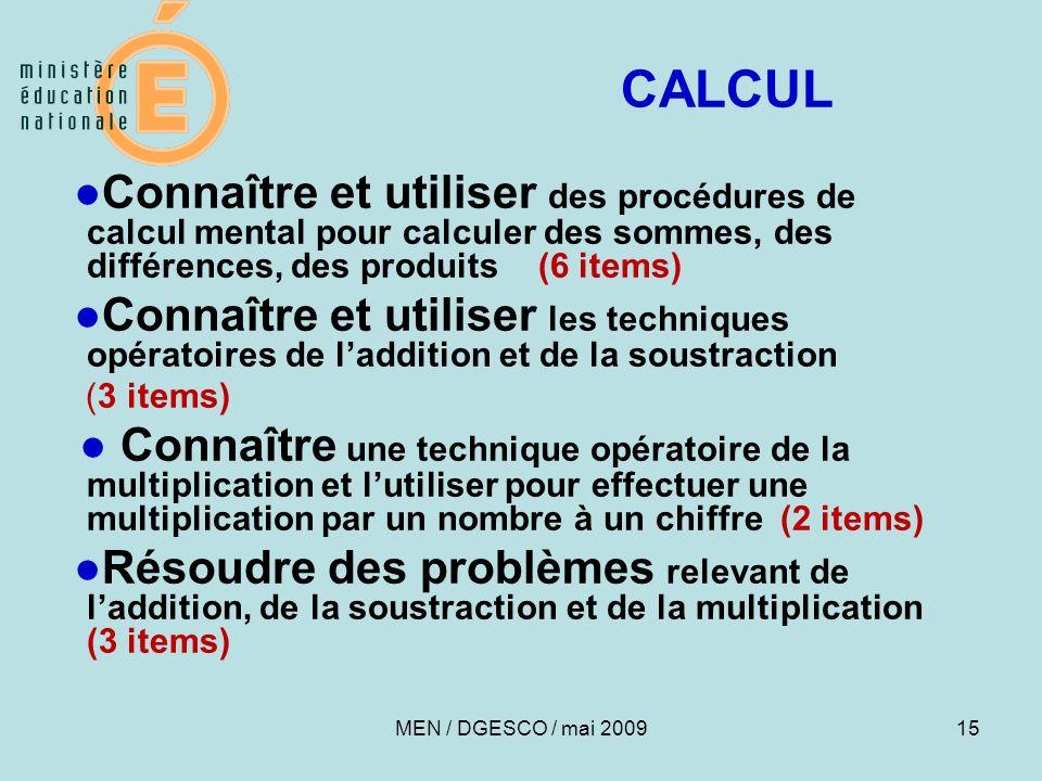 15 CALCUL Connaître et utiliser des procédures de calcul mental pour calculer des sommes, des différences, des produits (6 items) Connaître et utilise