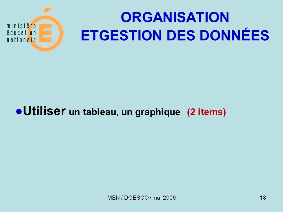 18 ORGANISATION ETGESTION DES DONNÉES Utiliser un tableau, un graphique (2 items) MEN / DGESCO / mai 2009