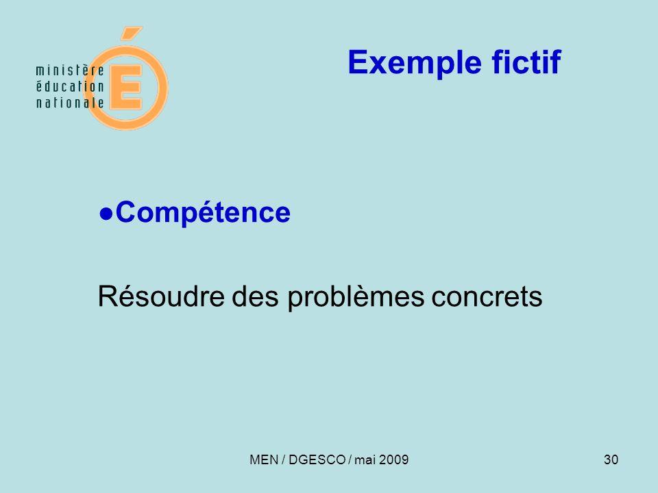 30 Exemple fictif Compétence Résoudre des problèmes concrets MEN / DGESCO / mai 2009