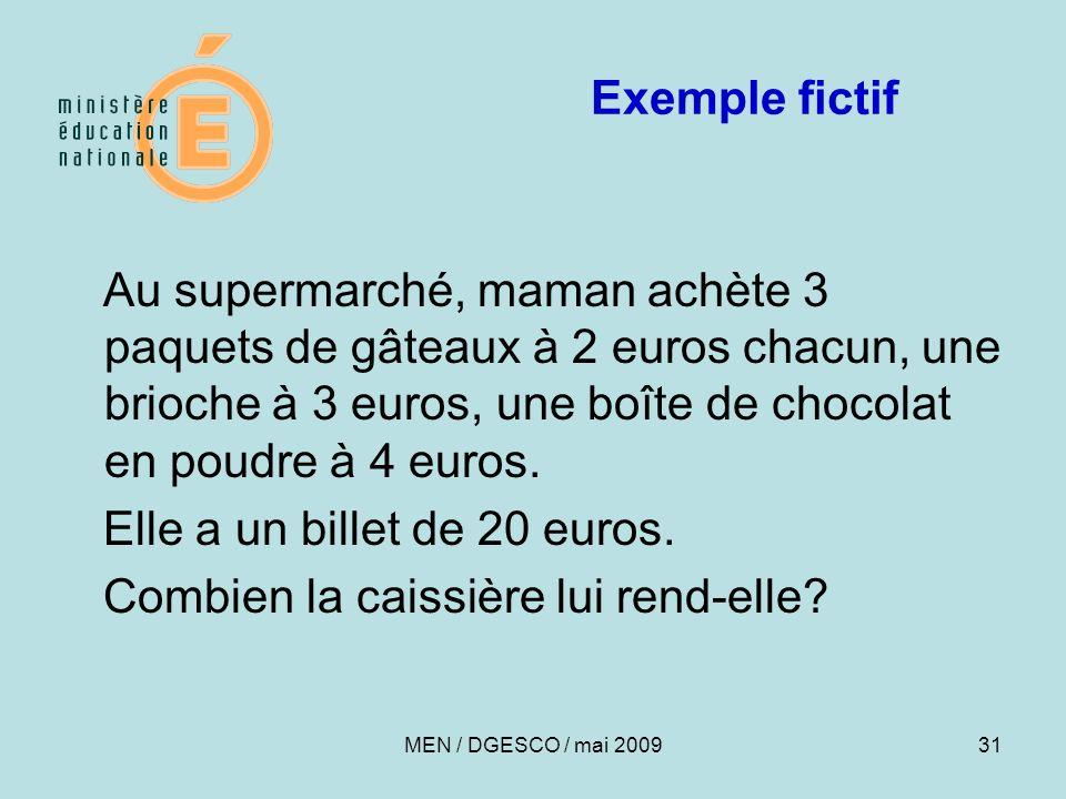 31 Exemple fictif Au supermarché, maman achète 3 paquets de gâteaux à 2 euros chacun, une brioche à 3 euros, une boîte de chocolat en poudre à 4 euros